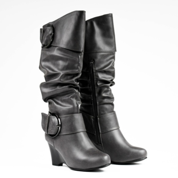 Journee Collection Shoes - Journee Collection Women's Leather Buckle Boots